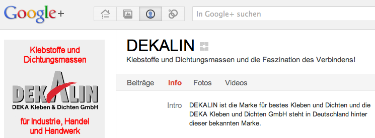 Screenshot Google Plus DEKA Kleben & Dichten